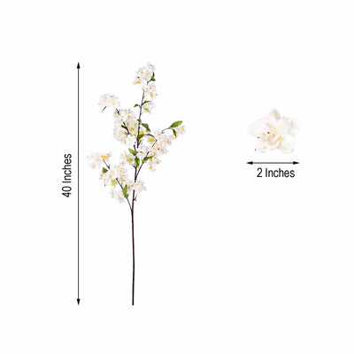 "10 Pack | 40"" Tall Cream Silk Faux Cherry Blossoms Branches Artificial Flowers"