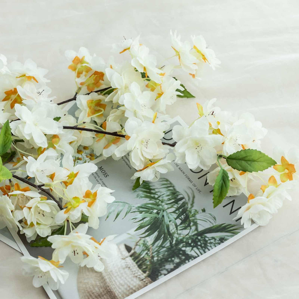 10 Pack 40 Tall White Silk Artificial Flowers Cherry Blossoms