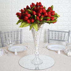 12 Pack | 108 Pcs Red Tulip Artificial Flowers Wedding Bouquet Floral Arrangements
