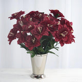 12 Bush 72 pcs Burgundy Artificial Silk Daffodil Flowers