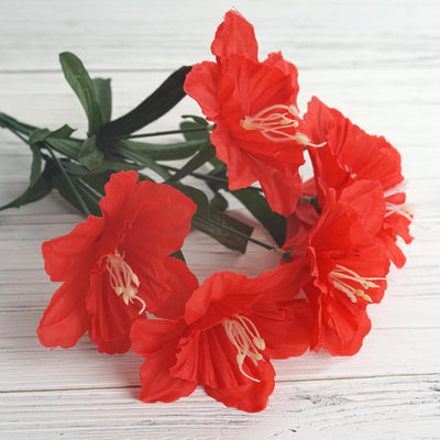 12 Bush 72 pcs Red Artificial Silk Daffodil Flowers