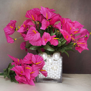 252 Wholesale Artificial Mini Calla Lilies Wedding Flower Vase Centerpiece Decor - Fushia