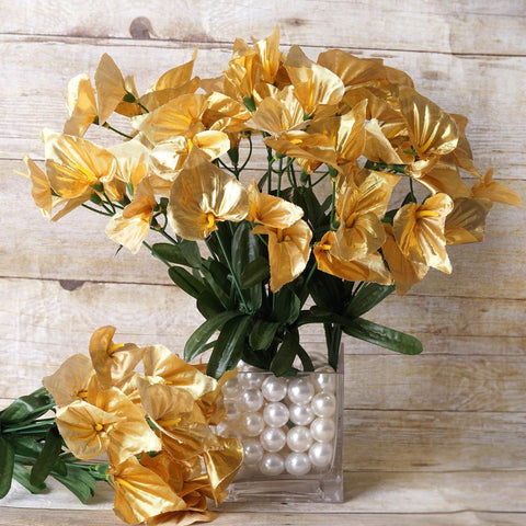 12 Bush 252 Pcs Gold Artificial Mini Calla Lilies Flower Wedding