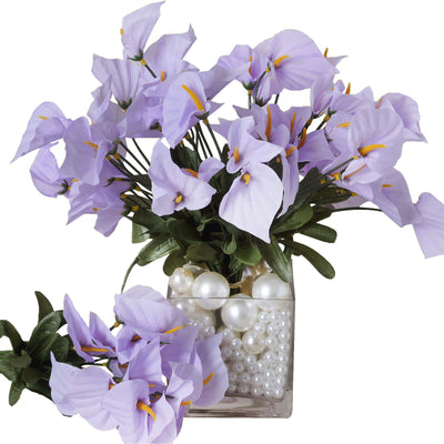 12 Bush 252 Pcs Lavender Artificial Mini Calla Lilies Flower Wedding Vase Centerpiece Decoration