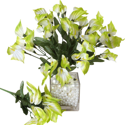 12 Bush 252 Pcs Lime Artificial Mini Calla Lilies Flowers