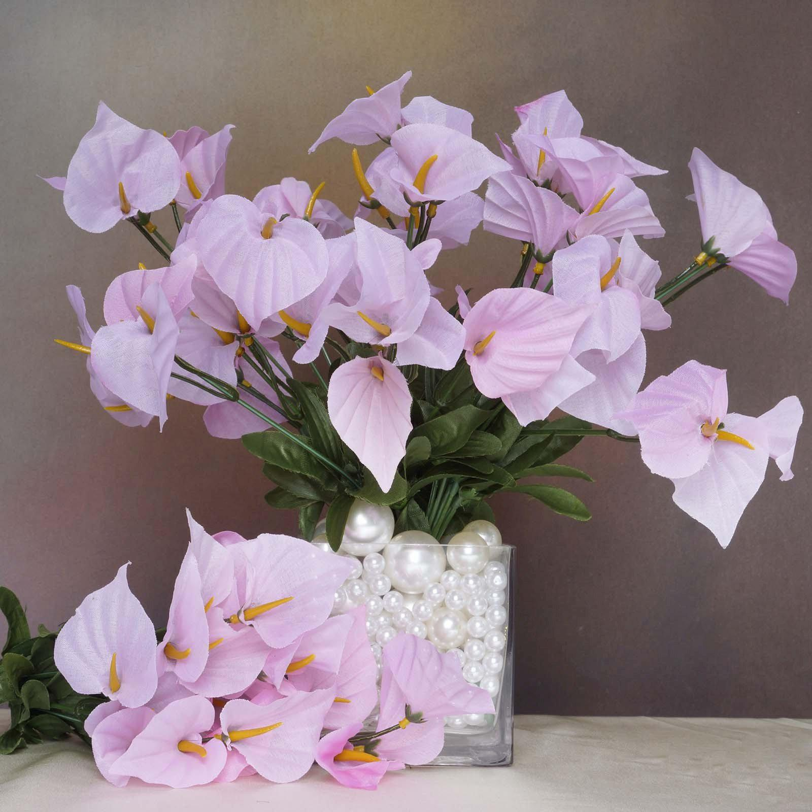 12 Bush 252 Pcs Pink Artificial Mini Calla Lilies Flower Wedding