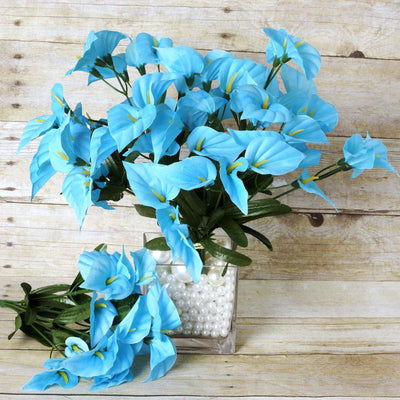 12 Bush 252 Pcs Turquoise Artificial Mini Calla Lilies Flower Wedding Vase Centerpiece Decoration