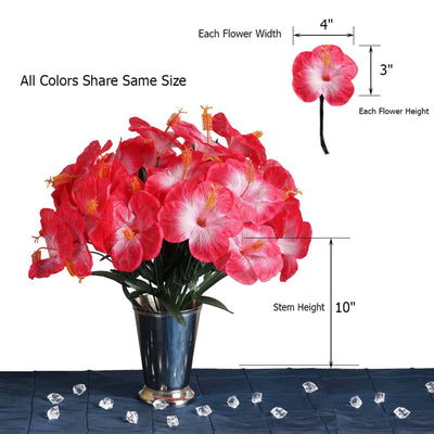 12 Bush 60 Pcs Fushia Artificial Silk Hibiscus Flowers - Clearance SALE