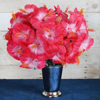 60 Artificial Silk Hibiscus Flowers Wedding Vase Centerpiece Decor - Fushia
