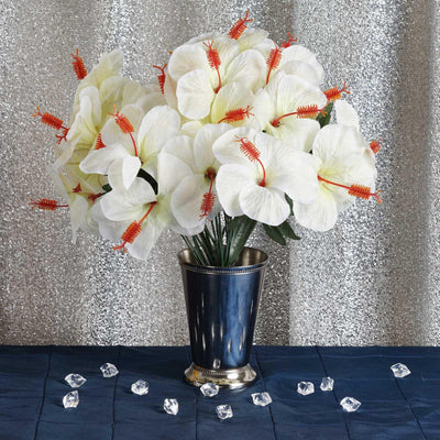 12 Bush 60 Pcs Ivory Artificial Silk Hibiscus Flowers - Clearance SALE