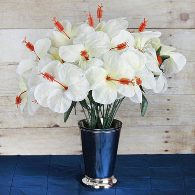 60 Artificial Silk Hibiscus Flowers Wedding Vase Centerpiece Decor - Ivory