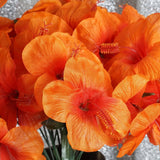 60 Artificial Silk Hibiscus Flowers Wedding Vase Centerpiece Decor - Orange