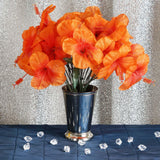 12 Bush 60 Pcs Orange Artificial Silk Hibiscus Flowers - Clearance SALE