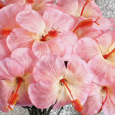 60 Artificial Silk Hibiscus Flowers Wedding Vase Centerpiece Decor - Pink