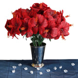 12 Bush 60 Pcs Red Artificial Silk Hibiscus Flowers