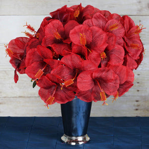 60 Artificial Silk Hibiscus Flowers Wedding Vase Centerpiece Decor - Red