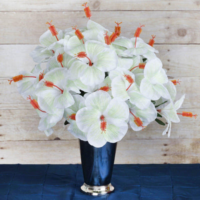 60 Artificial Silk Hibiscus Flowers Wedding Vase Centerpiece Decor - White