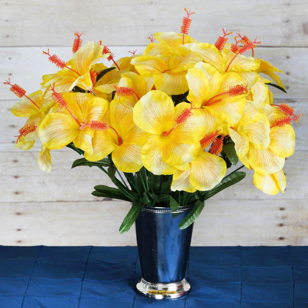 12 Bush 60 Pcs Yellow Artificial Silk Hibiscus Flowers Wedding Vase