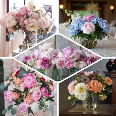 12 Bush 60 Pcs Lavender Artificial Silk Peony Shrubs
