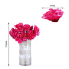 12 Bush 60 Pcs Fushia Artificial Silk Peony Flowers