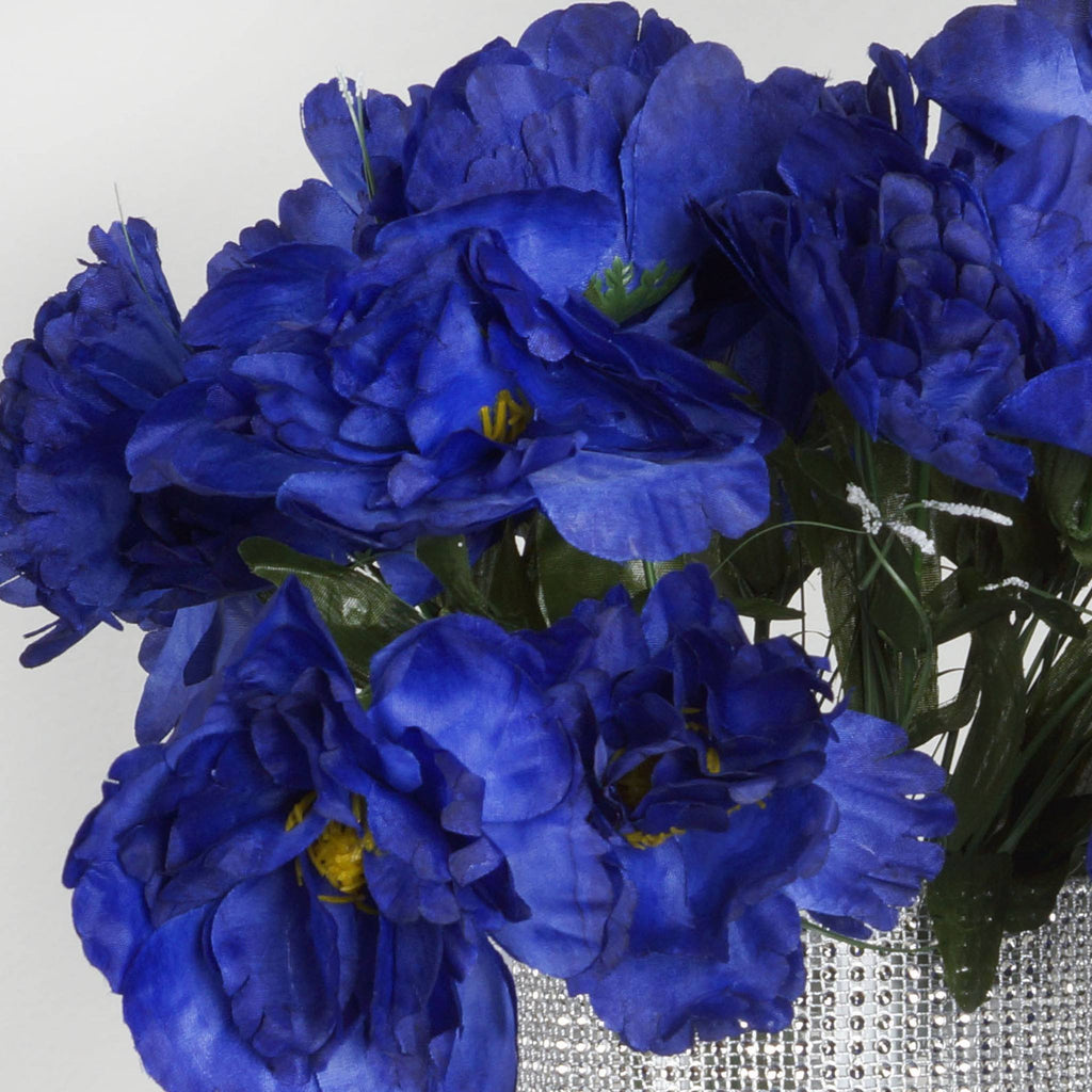 12 Pack Navy Blue Artificial Peony Flower Bridal Bouquet