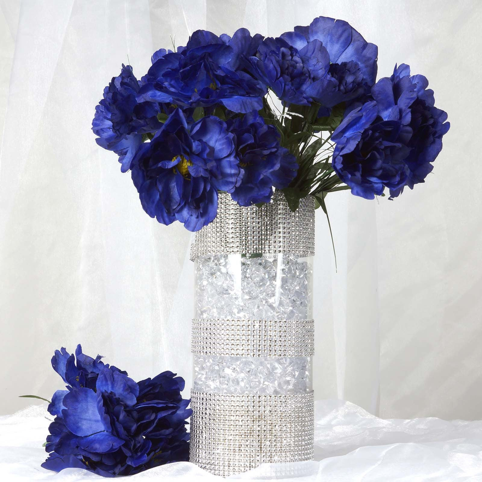 12 Bush 60 Pcs Navy Blue Artificial Silk Peony Flowers Tablecloths