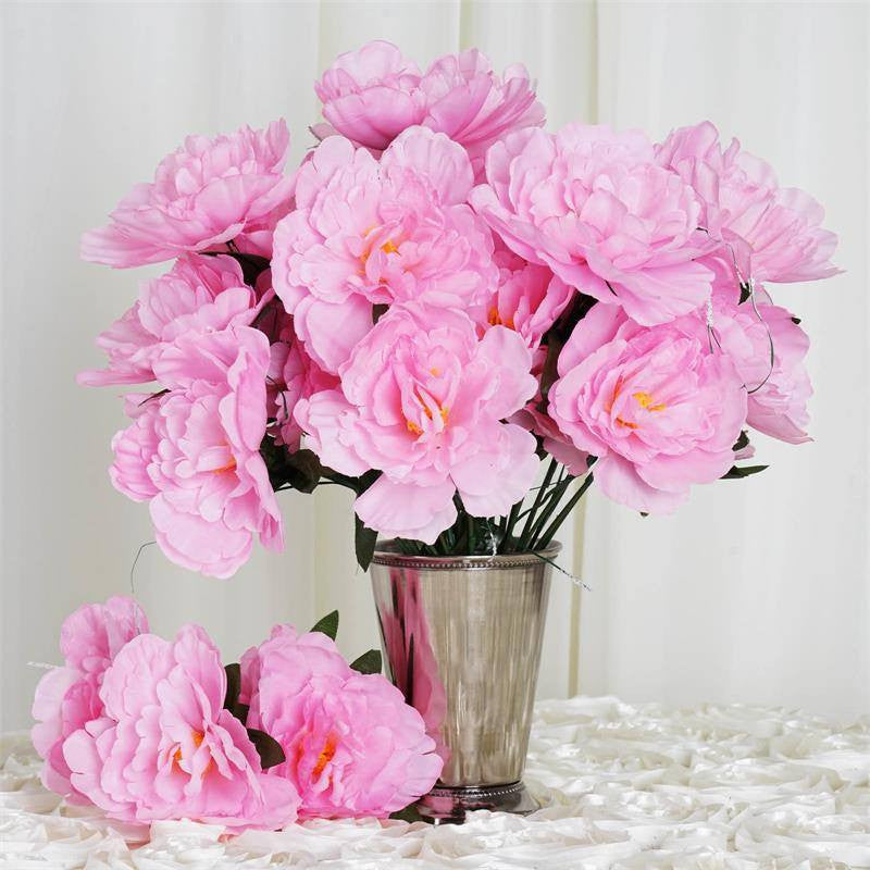 12 pack pink artificial peony flower bridal bouquet efavormart 60 wholesale artificial bridal bouquet peony silk flowers home wedding party pink mightylinksfo