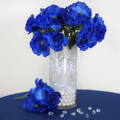 60 Wholesale Artificial Bridal Bouquet Peony Silk Flowers Home Wedding Party - Royal Blue