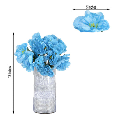 12 Bush 60 Pcs Turquoise Artificial Silk Peony Shrubs - Clearance SALE