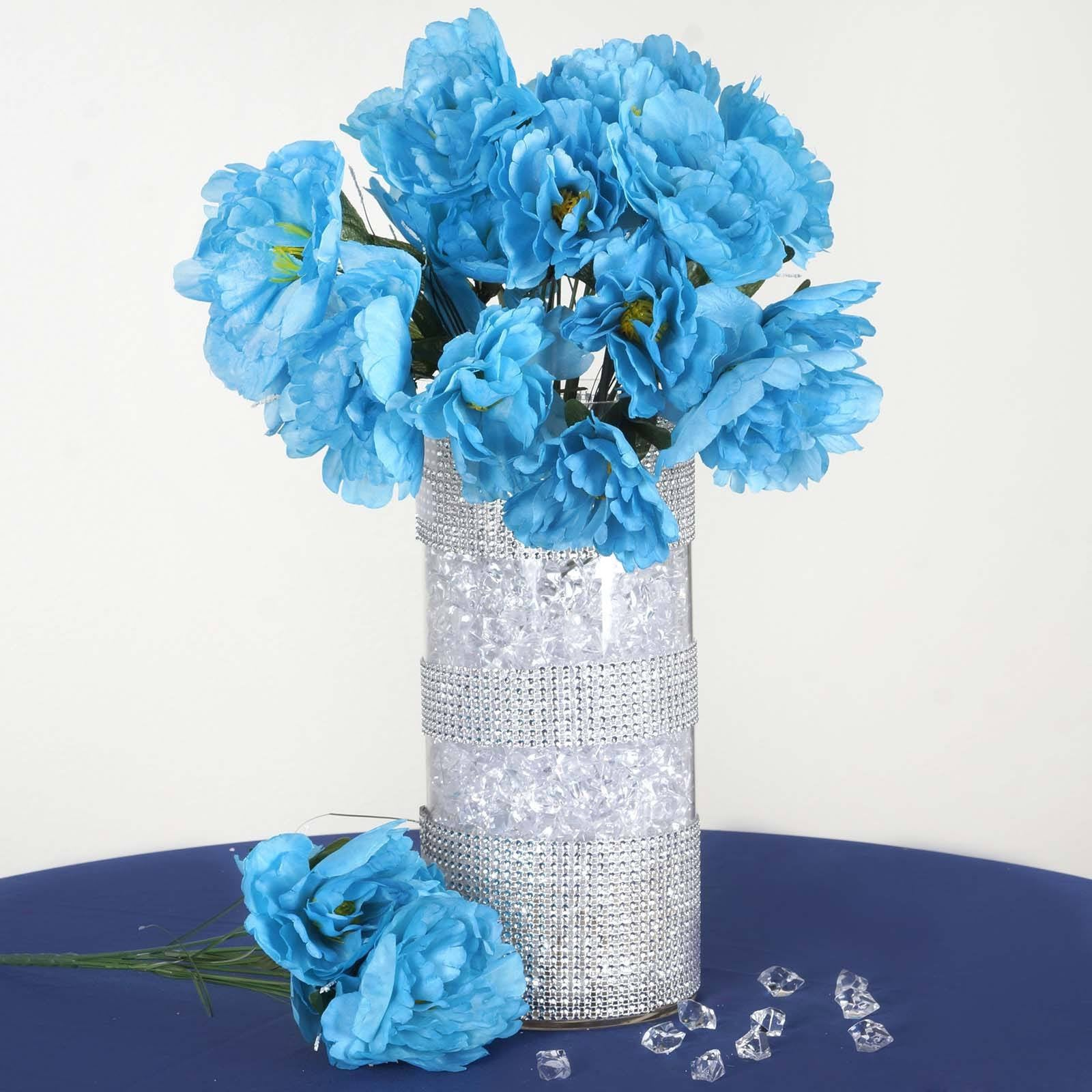 60 Turquoise Artificial Peony Bridal Bouquet Silk Flowers - 12 ...