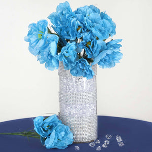 60 Wholesale Artificial Bridal Bouquet Peony Silk Flowers Home Wedding Party Décor - Turquoise