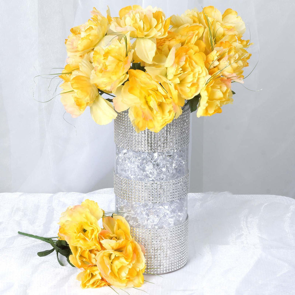 60 Yellow Artificial Peony Bridal Bouquet Silk Flowers - 12 Bouquet ...