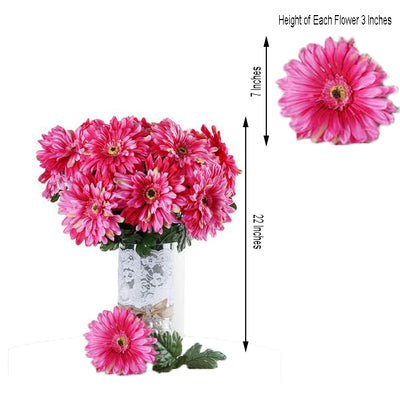 4 Bush 28 Pcs Fushia Gerbera Daisy Artificial Flowers - Clearance Sale