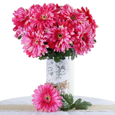 4 Bush 28 Pcs Fushia Gerbera Daisy Artificial Flowers