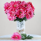 28 Gerbera Daisy Flowers Bush Wedding Vase Centerpiece Decor -Fushia