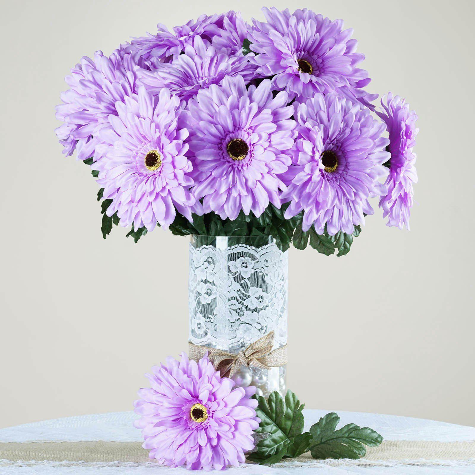4 Bush 28 Pcs Lavender Gerbera Daisy Artificial Flowers Wedding Vase