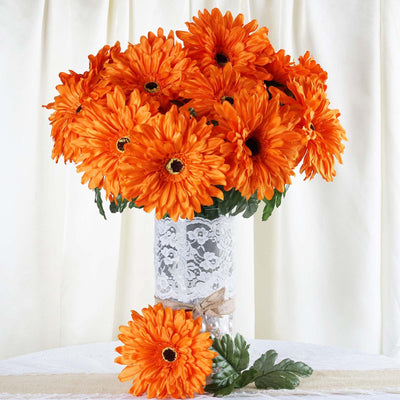4 Bush 28 Pcs Orange Gerbera Daisy Artificial Flowers Wedding Vase Centerpiece Decoration