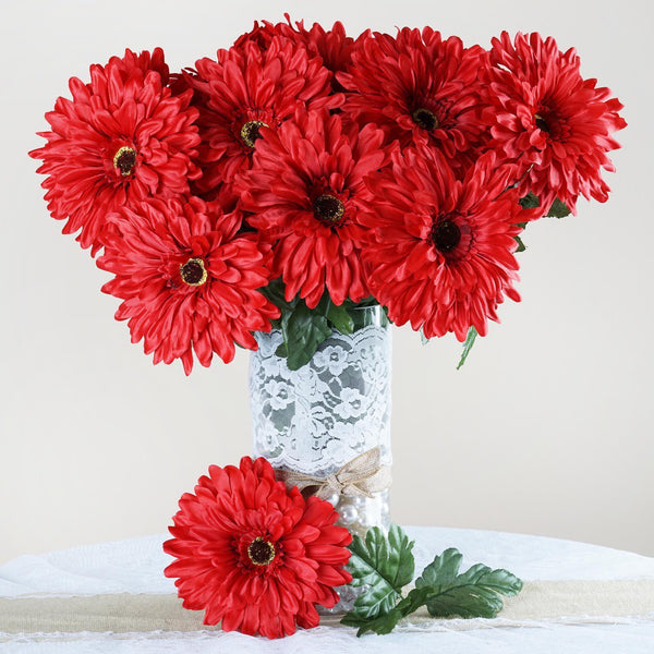 4 Bush 28 Pcs Red Gerbera Daisy Artificial Flowers - Clearance Sale