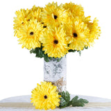 4 Bush 28 Pcs Yellow Gerbera Daisy Artificial Flowers
