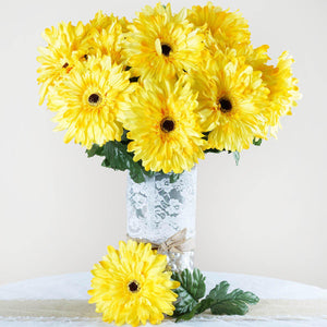 28 Gerbera Daisy Flowers Bush Wedding Vase Centerpiece Decor -Yellow