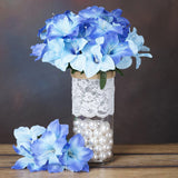10 Bush 60 Pcs Blue Artificial Silk Eastern Lily Flowers