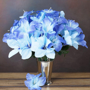 60 Artificial Eastern Lily Wedding Flower Vase Centerpiece Decor - Blue