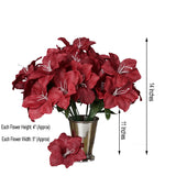 10 Bushes | 60 Pcs | Burgundy | Artificial Easter Silk Lilies Wholesale Flowers