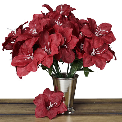 10 Bush 60 Pcs Burgundy Artificial Eastern Silk Lilies Wholesale Flowers