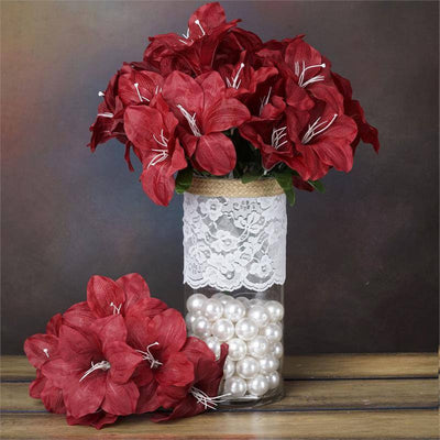 10 Bushes | 60 Pcs | Burgundy | Artificial Eastern Silk Lilies Wholesale Flowers