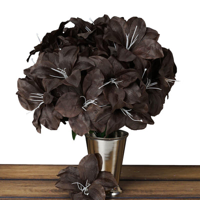 10 Bush 60 Pcs Chocolate Artificial Silk Eastern Lily Flowers