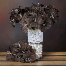 10 Bushes | 60 Pcs | Chocolate | Artificial Eastern Silk Lilies Wholesale Flowers