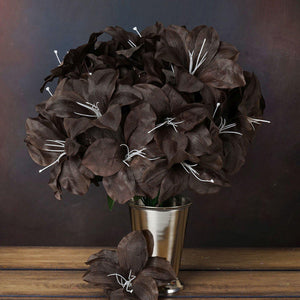 60 Artificial Eastern Lily Wedding Flower Vase Centerpiece Decor - Chocolate