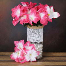 10 Bushes | 60 Pcs | Fushia | Artificial Silk Easter Lily Flowers