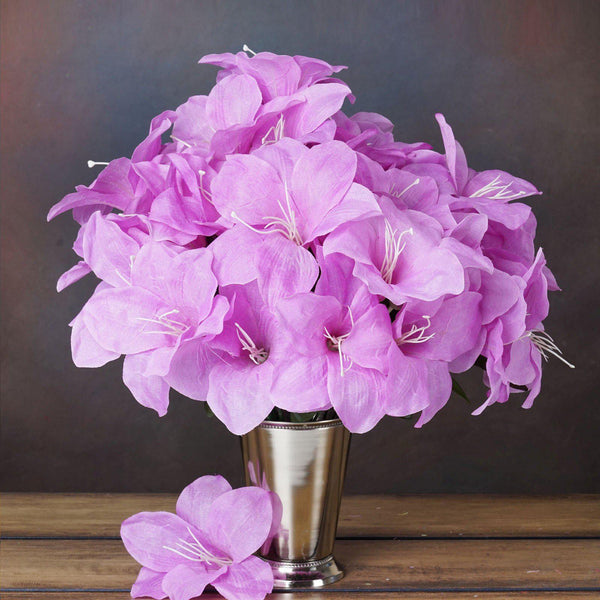 10 Bush 60 Pcs Lavender Artificial Easter Silk Lilies Wholesale Flowers